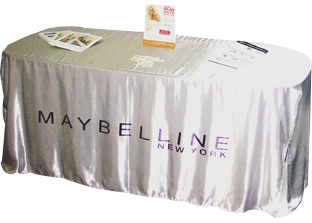 Custom printed table throws table skirts triumph for Table th row group
